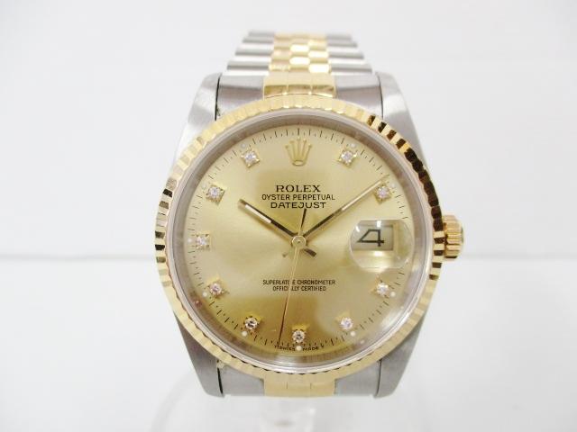 uk availability bdb3c 25ab4 ロレックス デイトジャスト 16233G 10Pダイヤ コンビ メンズ時計 ...